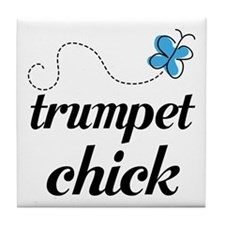 Cute Trumpet Chick Tile Coaster