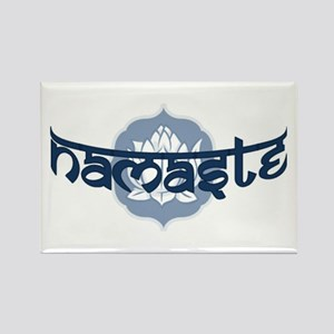 Namaste Lotus - Blue Rectangle Magnet