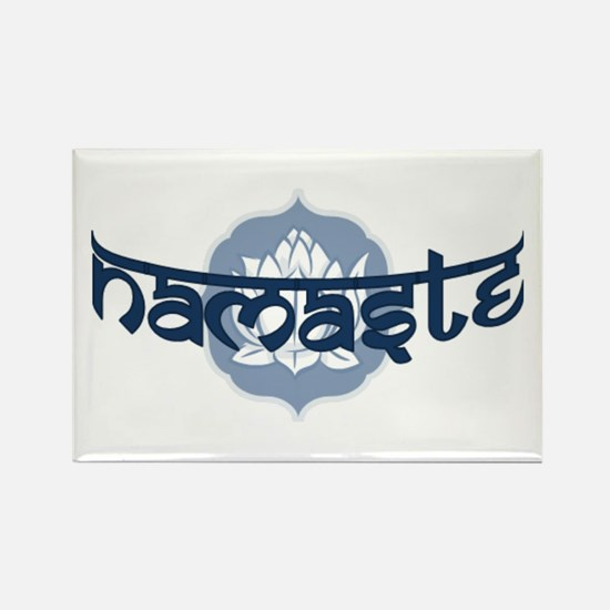 Namaste Lotus - Blue Rectangle Magnet