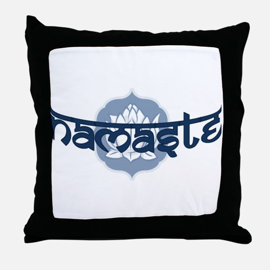 Namaste Lotus - Blue Throw Pillow