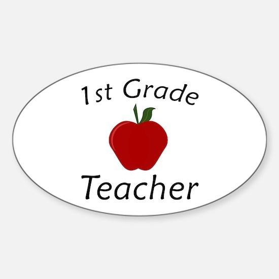 First Grade Teacher Sticker (Oval)