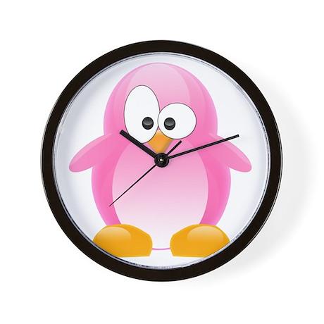 Pink Penguin Wall Clock