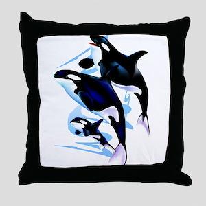 Orca Family Throw Pillow
