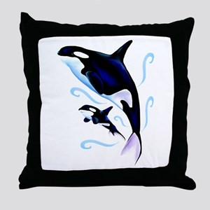 Orca Mom and Baby Throw Pillow