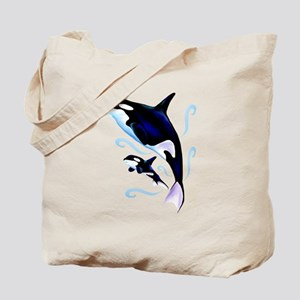 Orca Mom and Baby Tote Bag