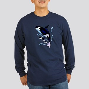 Orca Mom and Baby Long Sleeve Dark T-Shirt