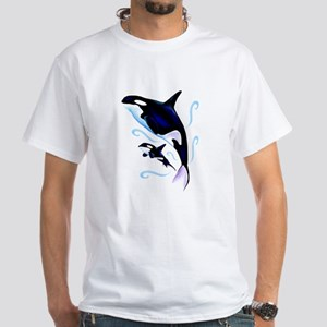Orca Mom and Baby White T-Shirt