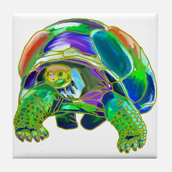 Rainbow Tortoise Tile Coaster