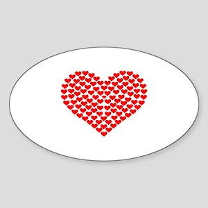 Hearts Sticker (Oval)