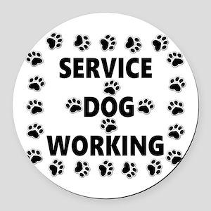 SERVICE DOG WORKING Round Car Magnet