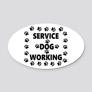 SERVICE DOG WORKING Oval Car Magnet