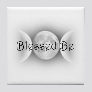 Blessed Be (triple crescent) Tile Coaster