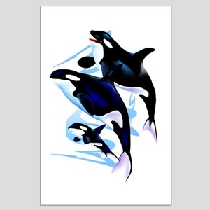 Orca Mom and Baby Large Poster