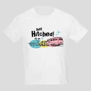 Retro Trailer Just Hitched Kids Light T-Shirt