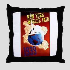 Vintage New York World's Fair Throw Pillow