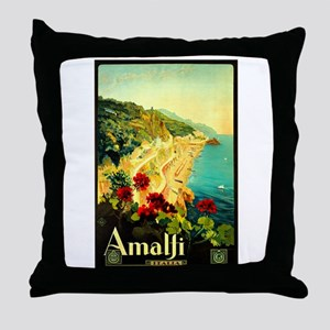 Vintage Amalfi Italy Travel Throw Pillow