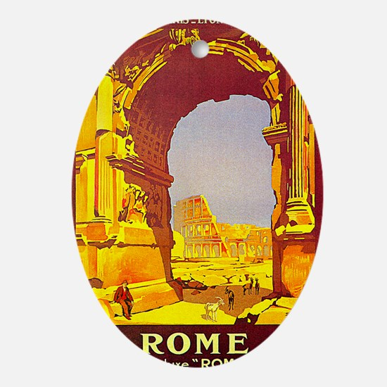 Vintage Rome Express Train Deluxe Ornament (Oval)
