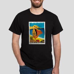 Vintage La Plage de Calvi 1928 Dark T-Shirt