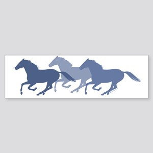 Blue Galloping Horses Sticker (Bumper)