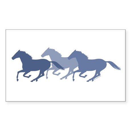 Blue Galloping Horses Sticker (Rectangle)