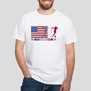 America USA Soccer White T-Shirt
