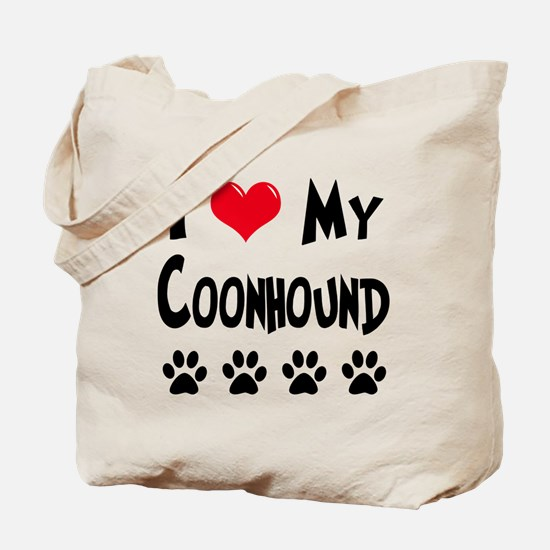 I Love My Coonhound Tote Bag