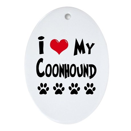 I Love My Coonhound Ornament (Oval)