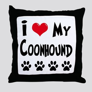I Love My Coonhound Throw Pillow