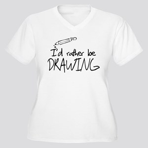 I'd Rather Be Drawing Women's Plus Size V-Neck T-S