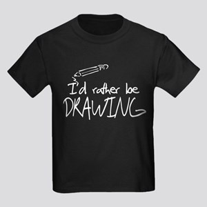 I'd Rather Be Drawing Kids Dark T-Shirt