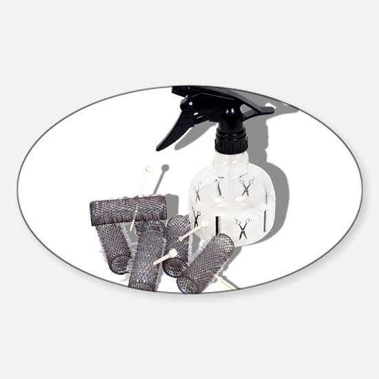 Hair Rollers and Spray Bottle Sticker (Oval)
