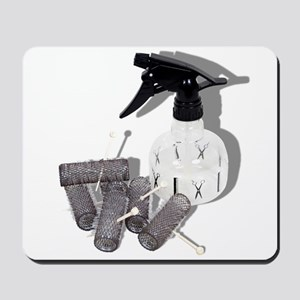Hair Rollers and Spray Bottle Mousepad