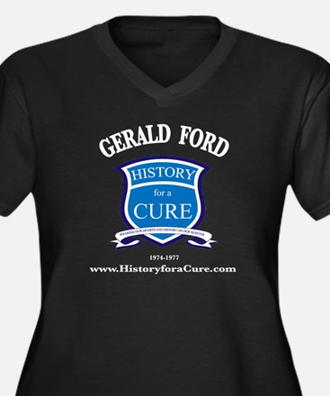 Gerald Ford Women's Plus Size V-Neck Dark T-Shirt