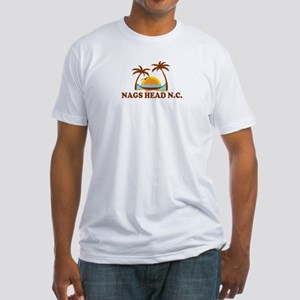Nags Head NC - Palm Trees Design Fitted T-Shirt