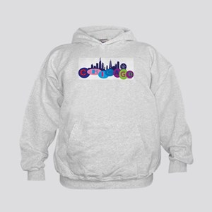 Chicago Circles And Skyline Kids Hoodie