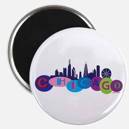 Chicago Circles And Skyline Magnet