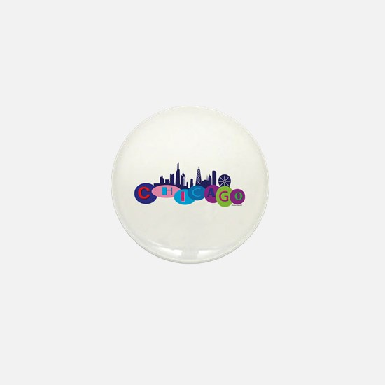 Chicago Circles And Skyline Mini Button