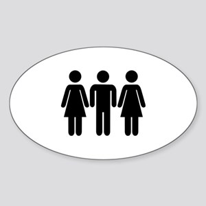 Threesome Sticker (Oval)