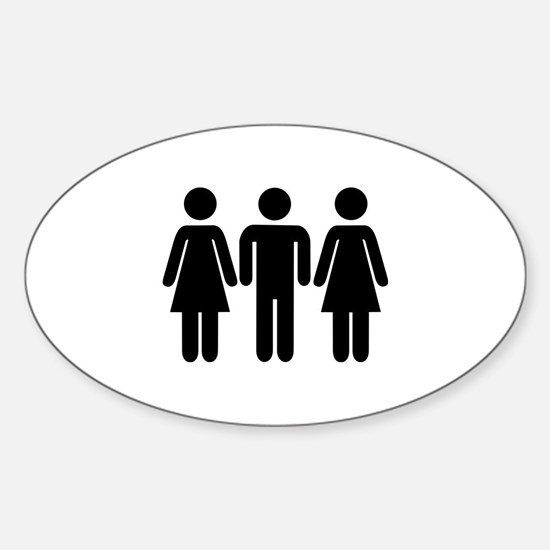 Threesome Sticker (Oval)