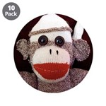 "Ernie the Sock Monkey 3.5"" Button (10 pack)"