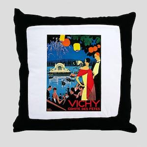 Vintage Vichy Comite des Fetes Throw Pillow