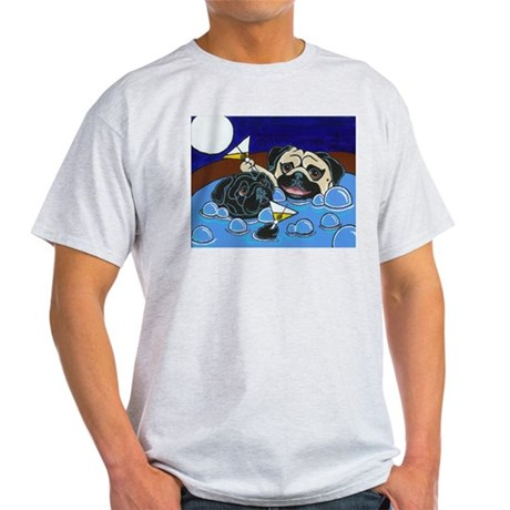 Hot Tub Pugs Ash Grey T-Shirt