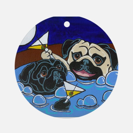 Hot Tub Pugs Ornament (Round)