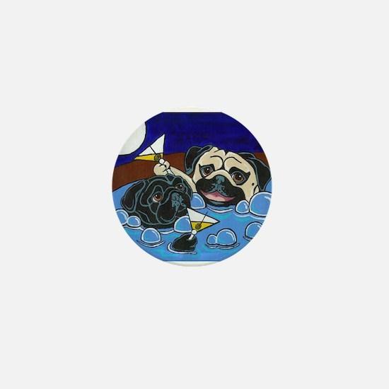 Hot Tub Pugs Mini Button