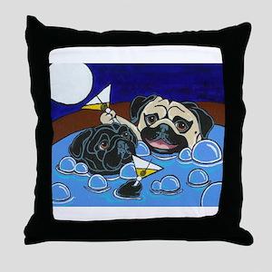 Hot Tub Pugs Throw Pillow