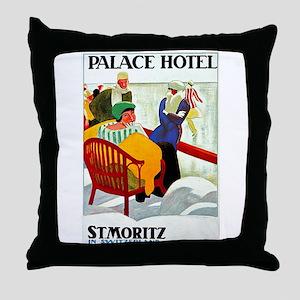 St. Moritz Switzerland Vintage Throw Pillow
