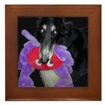 Borzoi with Toy Framed Tile
