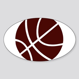 BASKETBALL *2* {crimson} Sticker (Oval)