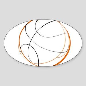 BASKETBALL *9* {orange} Sticker (Oval)