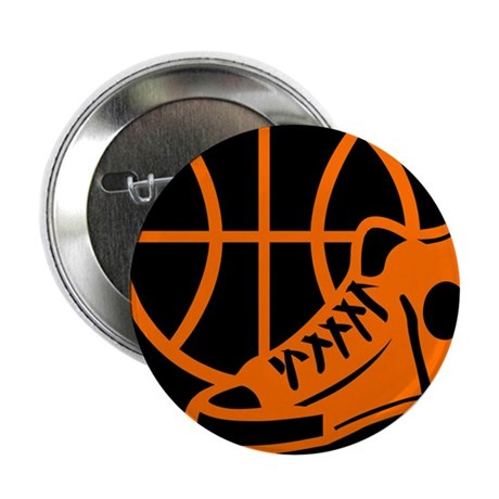 "BASKETBALL *32* [orange} 2.25"" Button"